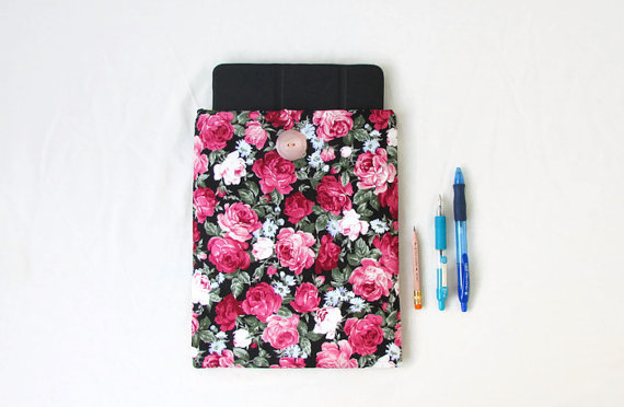Ipad or Ipad Air tablet case, black and pink rose fabric