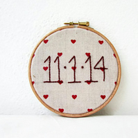 Custom date hoop, rustic wedding or anniversary gift