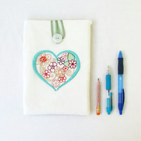 IPad mini case, hand embroidered tablet cover