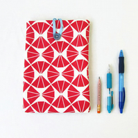 IPad mini case, red triangle print fabric