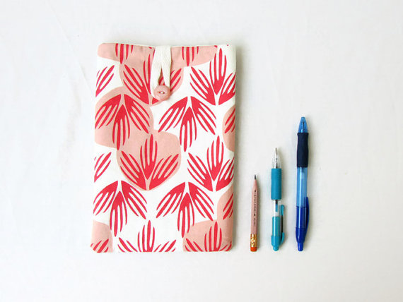 IPad mini case, orange peach palm print fabric