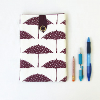 IPad mini case, purple umbrella hand printed fabric