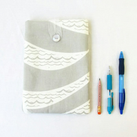IPad mini case, grey hand printed fabric