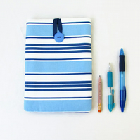IPad mini case, blue stripe fabric