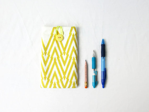 Iphone 6, 7 or 8 plus phone cover, yellow hand printed fabric