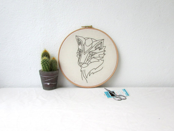 Fox hand embroidery hoop art, wall hanging textile art