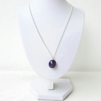 Amethyst pendant necklace, silver plated raw gemstone necklace