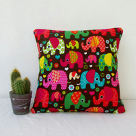Bright elephant cushion cover, small pillow for nursery or kids bedroom