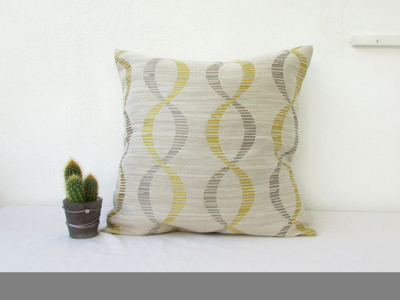 Gold and grey cushion cover,