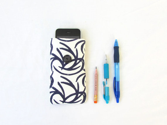 Dark blue fabric phone case for IPhone 3, 4, 5c, 5s or other small mobile phones
