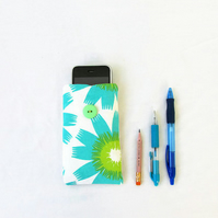 Turquoise fabric phone case for IPhone 3, 4, 5c, 5s or other small mobile phones
