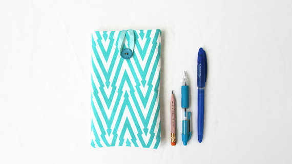 Iphone 6 plus phone cover, turquoise hand printed fabric phone case