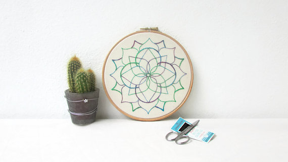 7 inch mandala hand embroidery hoop art, wall hanging textile art