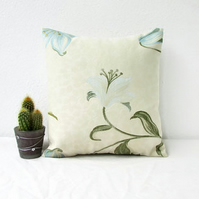 Cream floral cushion cover, blue lily pattern, 12 inch cushion cover