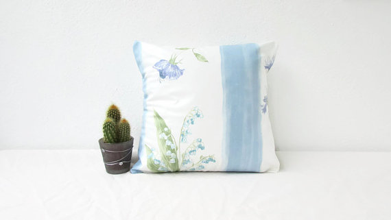 Blue Cottage Cushion Cover 12 Inch Square Pillow