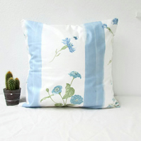 Blue cottage cushion cover, 16 inch square pillow cover