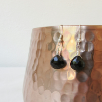 Black spinel earrings, wire wrapping sterling silver earrings