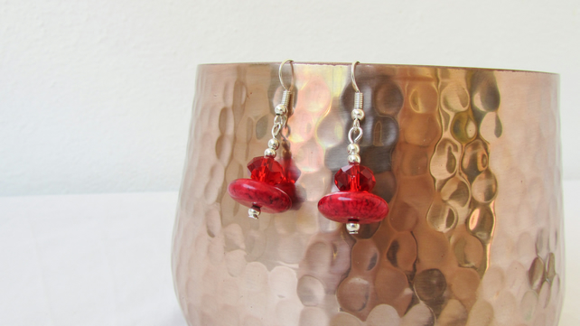 CLEARANCE Red magnesite earrings, Swarovski crystal and semi precious gemstone