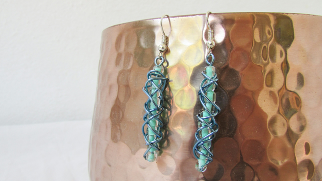CLEARANCE Blue wire wrapped earrings, blue seed beads, sterling silver