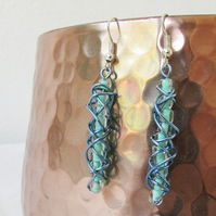 Blue wire wrapped earrings, blue seed beads, sterling silver