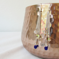 Blue and peach chain earrings, dangle earrings