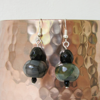 Sterling silver and agate earrings