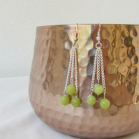 Lime jade chain earrings, sterling silver, semi precious gemstone