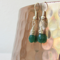 Green onyx earrings, wire wrapped sterling silver earrings
