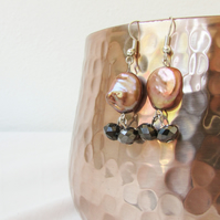 Metallic pearl earrings, large bronze freshwater pearl, sterling silver earrings