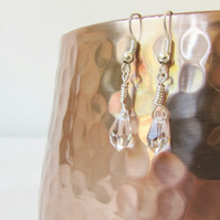 Crystal earrings, wire wrapped tiny dangle earrings, lightweight sterling silver