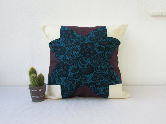 Teal and purple patchwork work cushion cover
