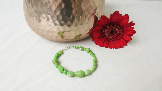 CLEARANCE Green beaded bracelet, ceramic beaded bracelet, spring green jewellery