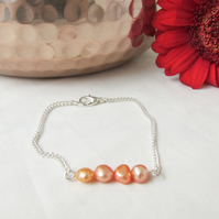 CLEARANCE Orange pearl bracelet, freshwater pearl bar bracelet