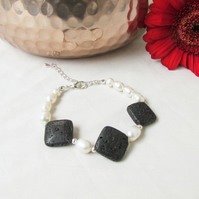 Pearl and lava rock bracelet, unusual stone and freshwater pearl bracelet