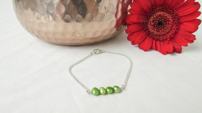 CLEARANCE Freshwater pearl bracelet, spring green