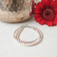 Freshwater pearls bridal bracelet, white, pink and bronze pearls