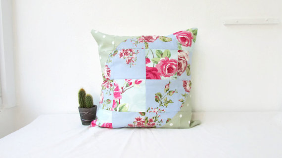 Floral patchwork cushion cover