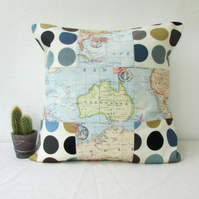 Map print patchwork pillow cover