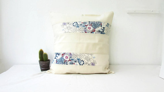 Blue and cream cushion cover, 16 inch square