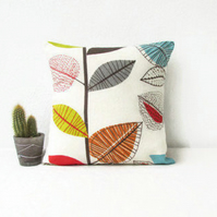 Colourful leaf print cushion cover, 12 inch square