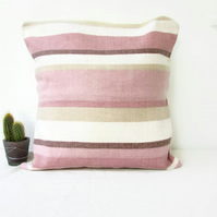 Striped pink and cream cushion cover