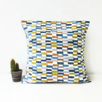 Colourful blue and orange cushion cover