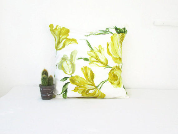Floral yellow cushion cover