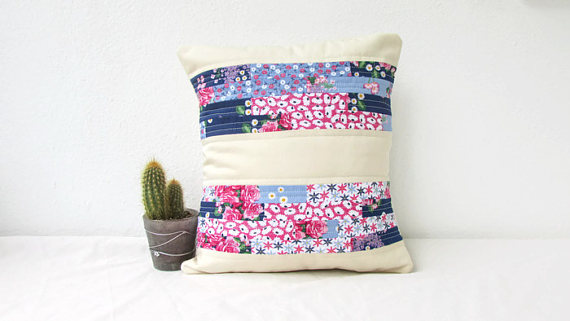 Small blue and pink quilted cushion cover