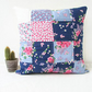 Blue and pink quilted cushion cover