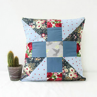 Small patchwork cushion cover in greys and blues