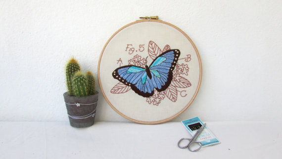 Blue Morpho butterfly hand embroidery art