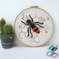 Honey Bee hand embroidery art