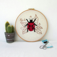 Ladybird hand embroidery art