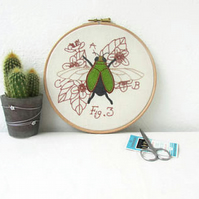 Jewel beetle hand embroidery art